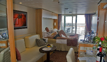 Relaxing in stateroom