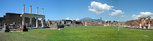 Pompeii Forum with Mt Vesuvius in background