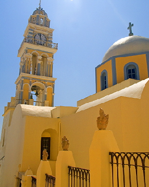 One of many beautiful Santorini churches